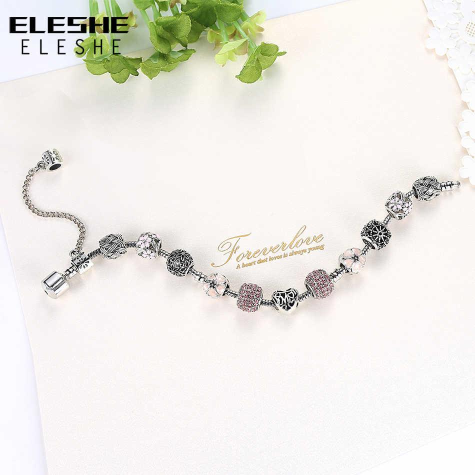 ELESHE оригинальный розовый эмалированный цветок Серебряный браслет и браслет с хрустальными бусинами очаровательные браслеты для женщин DIY модные украшения