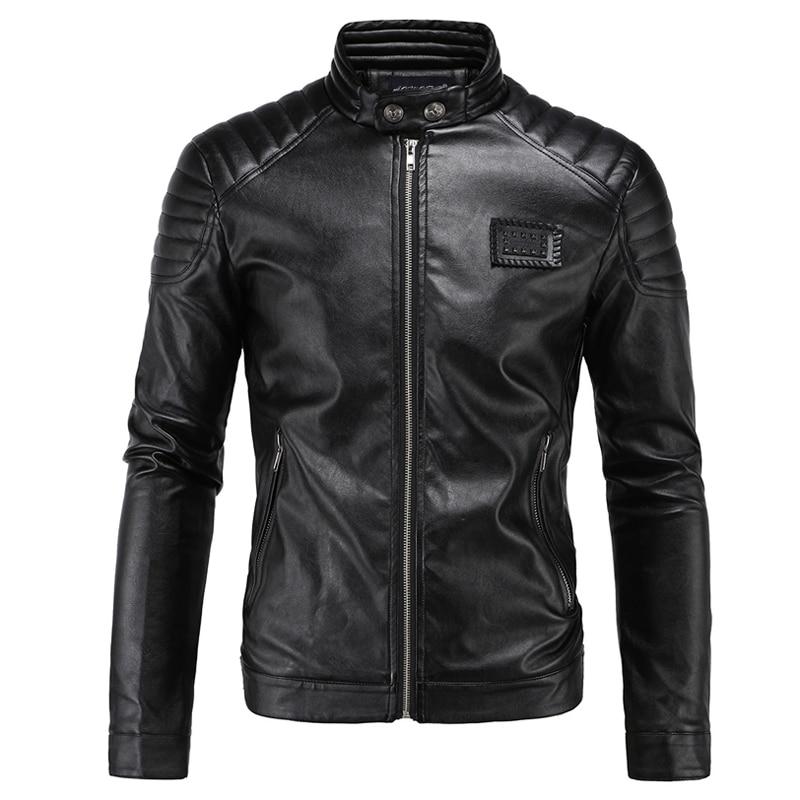 New Motorcycle Jacket PU Leather Men Vintage Retro Moto Faux Punk Leather Jackets Motorcycle Clothing Coats Slim Fit Size M-5XL plus size 10xl 8xl 6xl 5xl 2018 new arrival leather jackets men outwear solid casual men s coats autumn