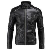 New Motorcycle Jacket PU Leather Men Vintage Retro Moto Faux Punk Leather Jackets Motorcycle Clothing Coats Slim Fit Size M 5XL
