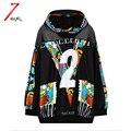 2017 nova outono moda feminina do punk carta impressão harajuku hoodies moletons com capuz patchwork net preto