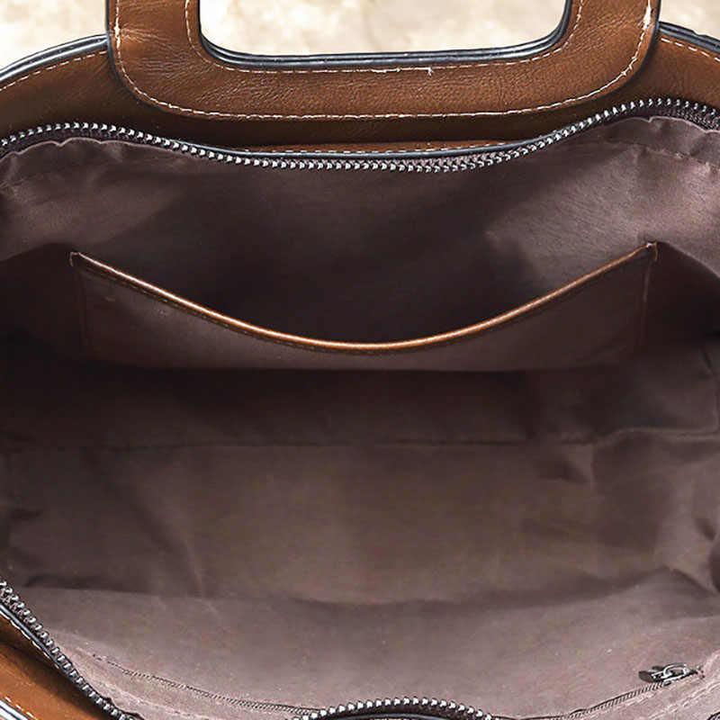 Sac femme AETOO en cuir tendance, une épaule en pente à travers un sac à main rétro,