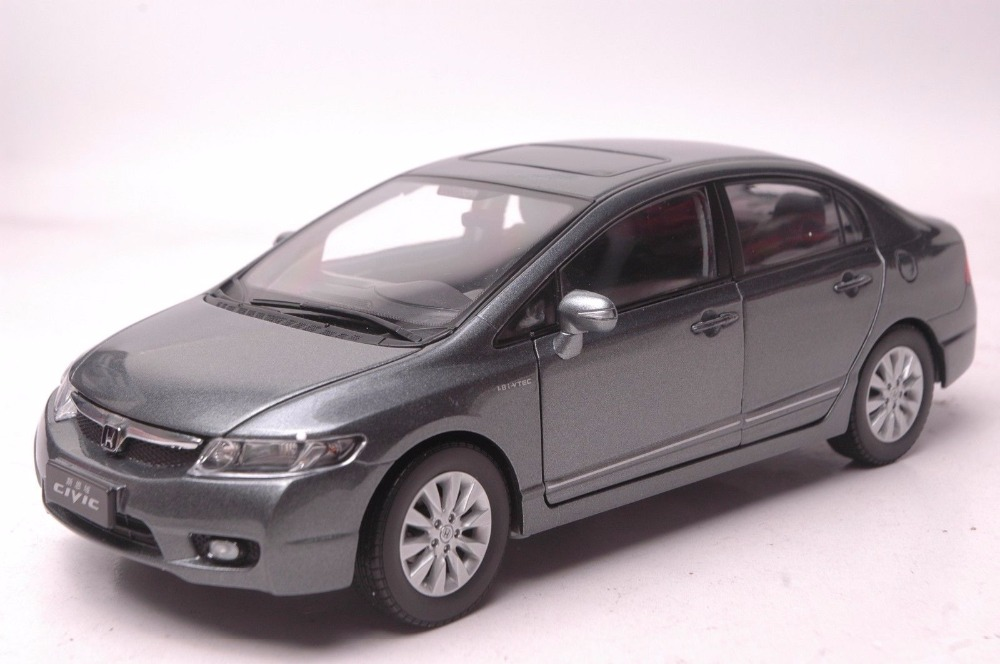 1:18 Diecast Model for Honda Civic 8 2009 Gray Alloy Toy Car Miniature Collection Gifts MK8 1 43 diecast model for honda civic 2016 mk10 white alloy toy car miniature collection gifts