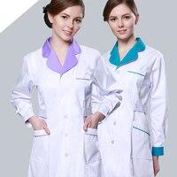 Women Doctor Uniform Workwear Nurses Surgical Clothing White Coat Long sleeve Medical Clothing Washable and Anti wrinkle White