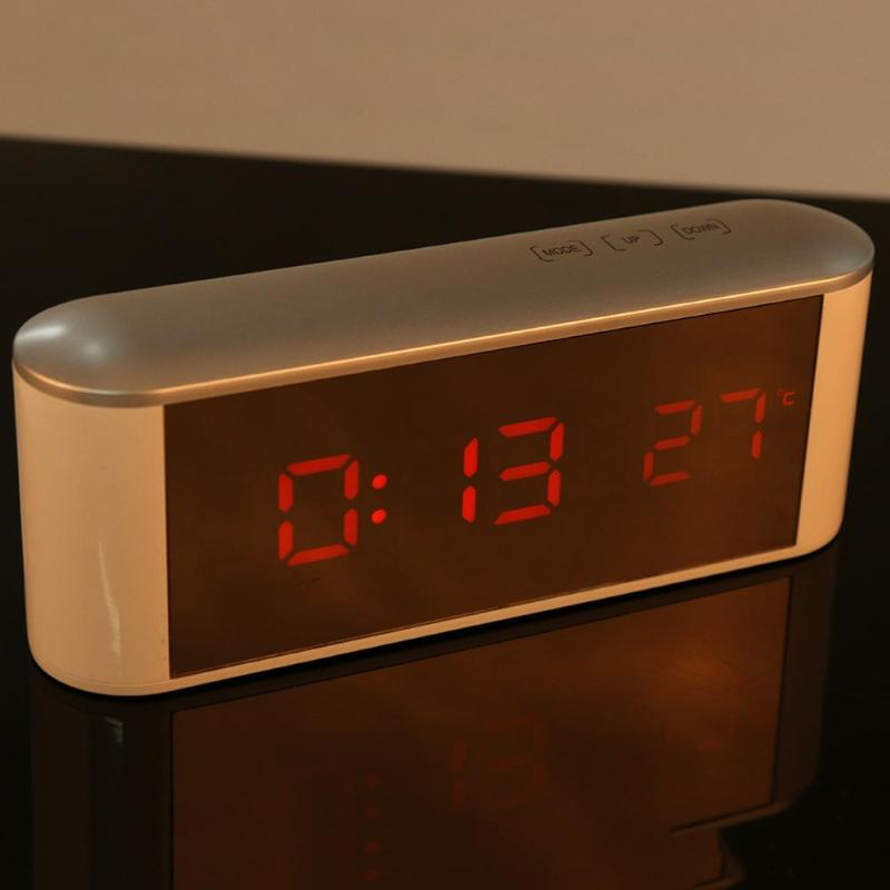 Square USB Or AAA Batteries LED Digital Alarm Clock Night Light Desktop Table Digital Thermometer Mirror Timer Display 19x7x5cm