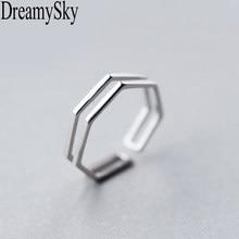 DreamySky prawdziwe srebrne kolorowe pierścienie dla kobiet dwuwarstwowy wielokąt pierścień