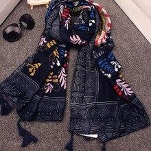 Дизайнерский хиджаб шарф женский Бохо Винтаж 70s этнический Длинный Цветочный Принт шарф кашне накидка Шаль Обертывание подарок на день рождения
