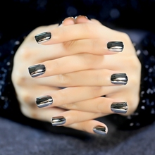 False Nail Tips Deep Grey Metallic Top Acrylic Nails