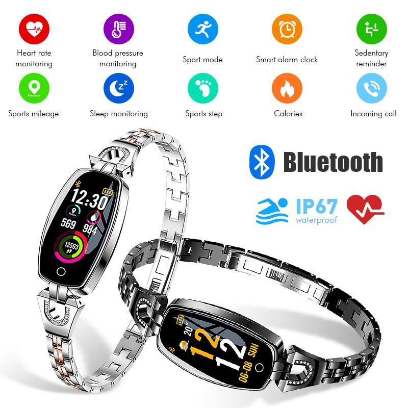 H8 montre intelligente Lady 2019 étanche surveillance de la fréquence cardiaque Bluetooth pour Android IOS Smartphone Fitness Bracelet intelligent Smartwatch