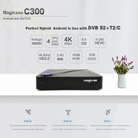 Magicsee C300 Amlogic S905D Quad core 2+16GB TVBOX DVB T2 DVB S2 Cable Set Top Box Android 7.1 4K Smart TV Box with Keyboard