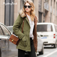 MysteryPark Winter Warm Coat Women Long Parkas Fashion Faux Fur Hooded Womens Overcoat Casual Cotton Padded Jacket Mutil Colors