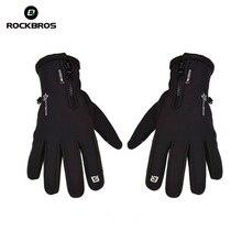 ROCKBROS Thermal Windproof Warm Fleece Gloves Winter Cycling Gloves Man Women Anti slip Rainproof Anti shock