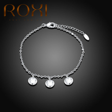 ROXI Fashion Three Round Crystal Pendant Anklets For Women Stainless Steel Boot Chain Bracelet 2017 Charm Anklets Foot Jewelry