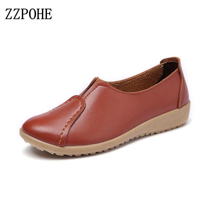 ZZPOHE Women's Flats Shoes Women Autumn Fashion Casual Comfortable Leather Shoes Female Soft Slip On Driving shoes free shipping chilenxas 2017 new spring autumn soft leather breathable comfortable shoes flats men casual fashion solid slip on handmade