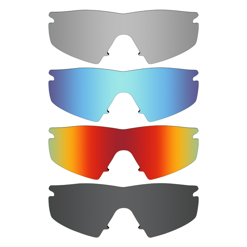 d60d49af926 4 Pieces Mryok POLARIZED Replacement Lenses for Oakley M Frame Strike  Sunglasses Stealth Black   Ice Blue   Red   Silver