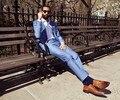 Новый приезжать летний стиль 100% шерсть классический голубой 2 шт. 2 кнопки с нотч мужские светло-голубой костюмы