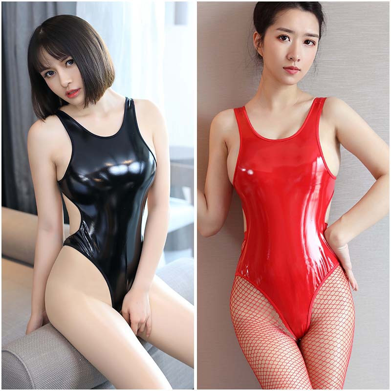 Red Fax Patent Leather PU Bandage Bodysuits High Fork Hollow Out Backless Female Body Suit Women One Piece Leotard Body Suit