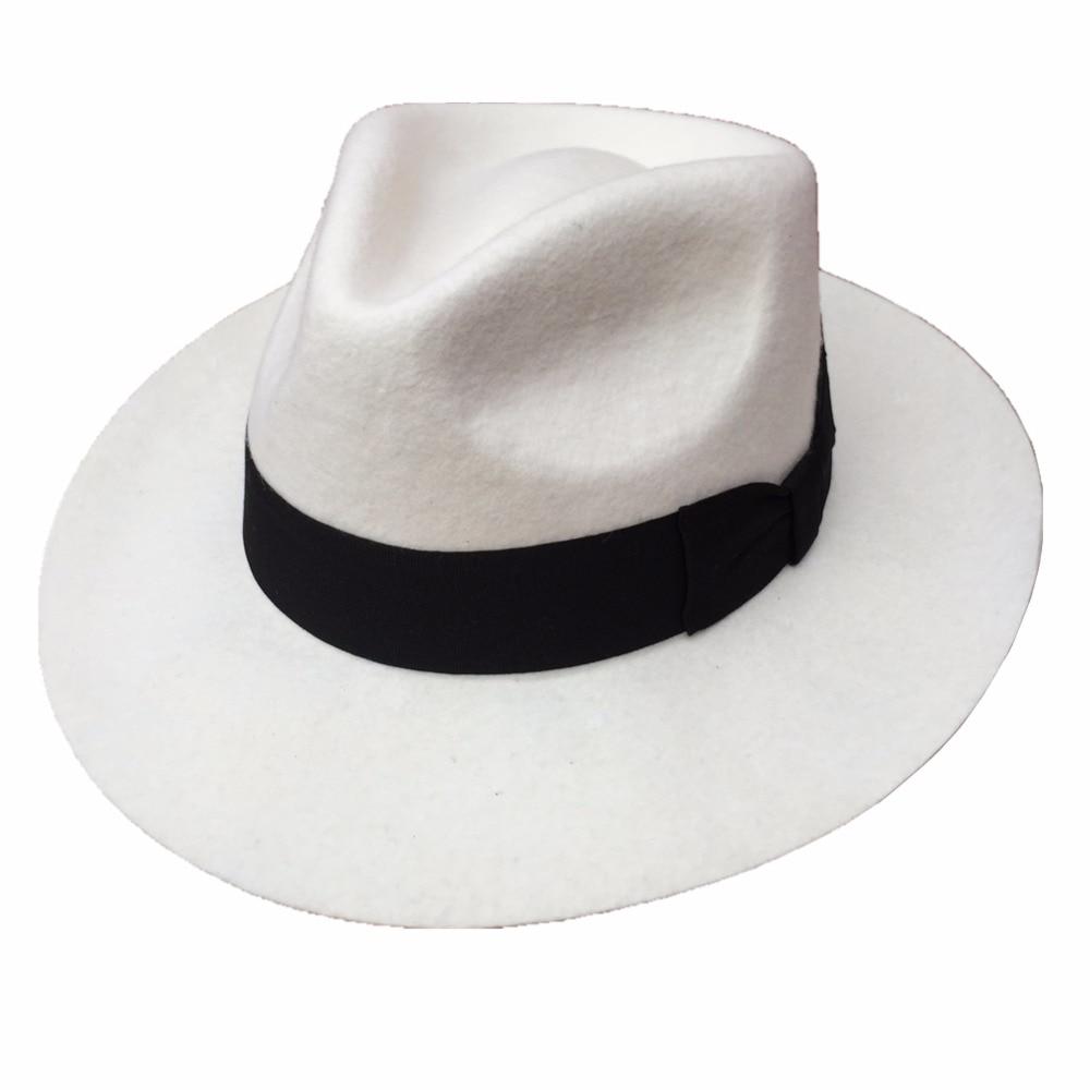 Classic Men's Wool Felt Godfather Fedora Hat - Gangster Mobster White Hat