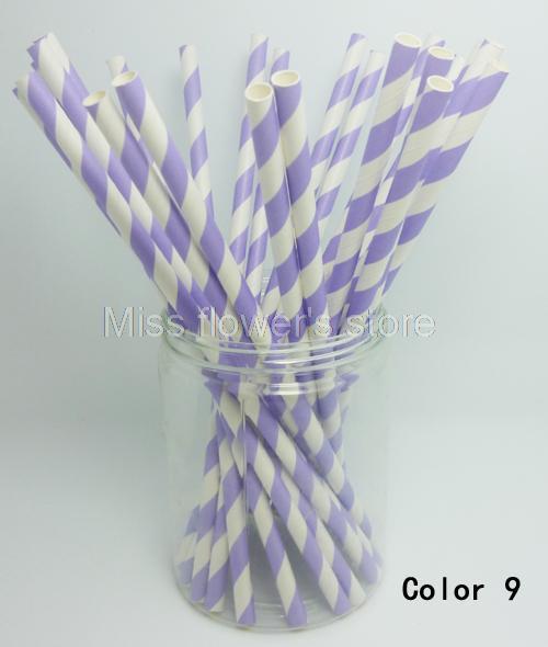 25 PCS Colorful Diagonal Striped Paper Drinking Straws Wedding Birthday Party