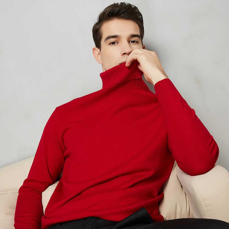 8 di colore Maglione A Collo Alto Degli Uomini 2020 Autunno Inverno Nuovi di Spessore Caldo Slim Fit Colore Solido Pullover Maglione Bianco di Marca Maschile rosso Blu