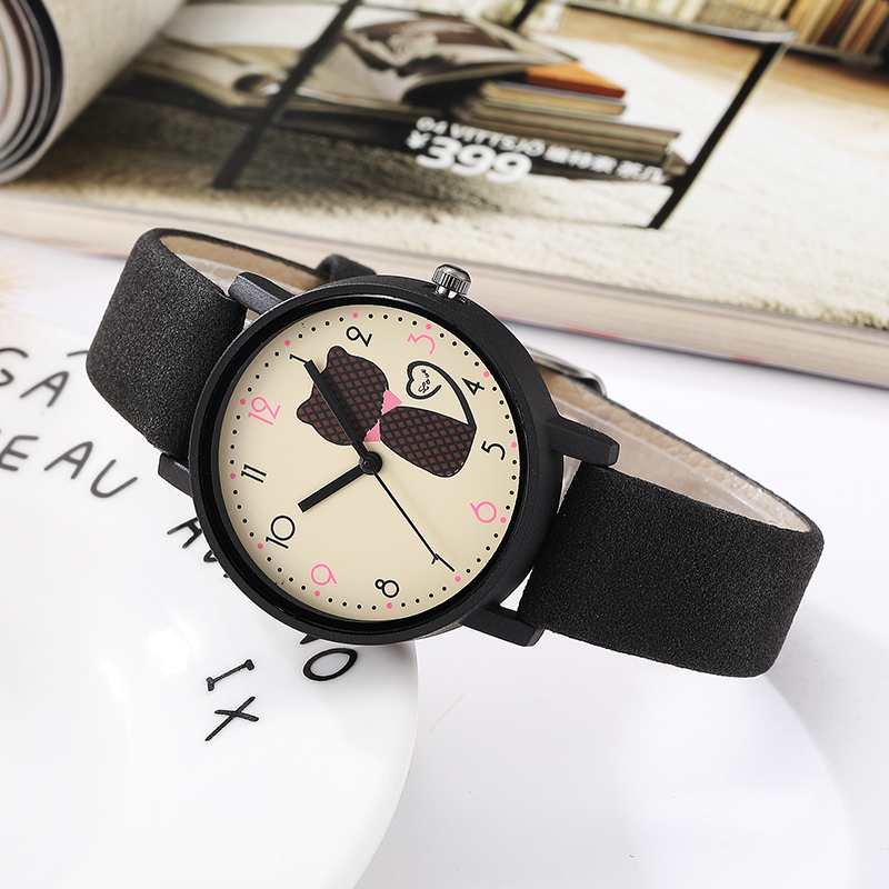 Fashion Casual Cute Cat Dial Quartz Women Watch Simple Ladies Bracelet Female Watches Matte Leather Band Wristwatch Clock Women