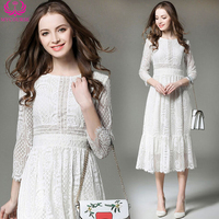 Fashion Womens Lace Dresses Elegant Lady Work Wear Dresses 3/4 Sleeve Hollow Out White Lace Evening Party Midi Dress vestidos