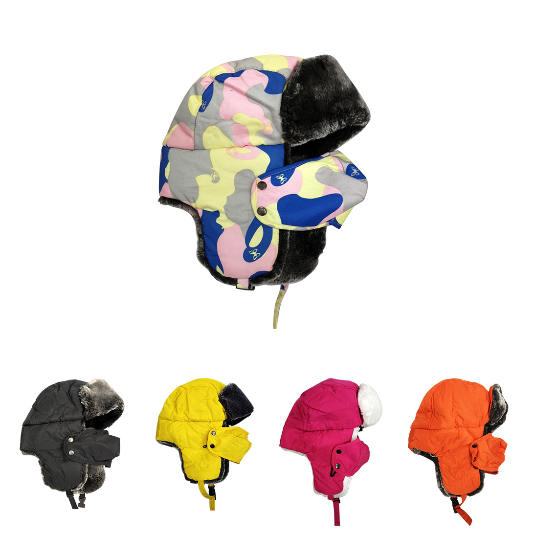 Winter Bomber Hats Kids Family Cap Girls Russian Hat Earflap Snow Balaclava Warm Face Mask Boys Snow Cap Child Outdoor Soviets