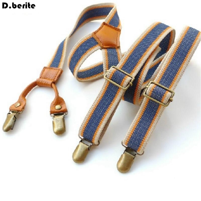 Fashion Mens Blue Stripes Braces Unisex Adjustable Clip-on Suspenders Braces Adult Belt Strap For Wedding Party BDXJ2503