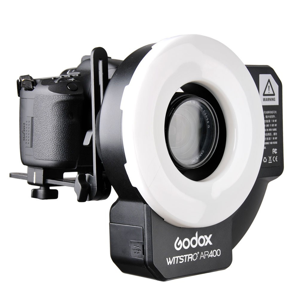 A027 Godox Witstro AR400 400W Li-ion Battery Powerful Ring Flash Speedlite with 2 in 1 LED Video Light for Canon Nikon Cameras