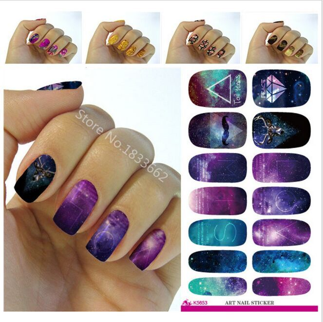2017 Rushed New Water Transfer Foil Nails Art Sticker Mystery Galaxies Design Manicure Decor Decals Fashion Nail Wraps 2pcs new water transfer light gray white marble stone rock nail wraps sticker manicure decals nail foil sticker art sexy