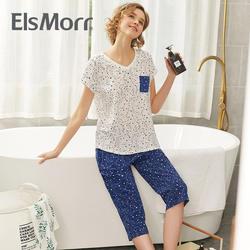 Пижама комплект Для женщин пижамы Повседневное пижамы футболки и середине брюки лето печати 2019 Новый Ночное для мам среднего возраста Mujer