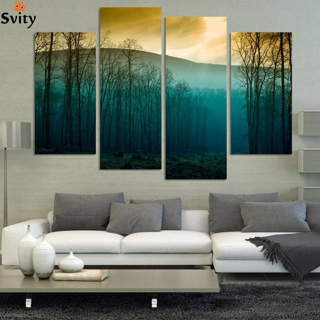 Modern abstract huge wall art painting on canvas sunrise tree landscape hd