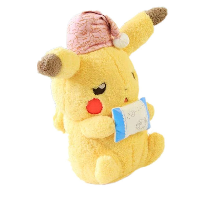 Kawaii Pikachu Plush Anime toy Super soft Baby Sleeping Pillow pink hat Shy Sleepy Pikachu Doll toys for Boy girl Game Doll Gift