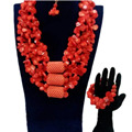 4ujewelry Original Coral Beads Jewelry Sets Red 3 Layers Choker Women African Jewelry Nigerian Wedding Necklace Set Dubai 2018