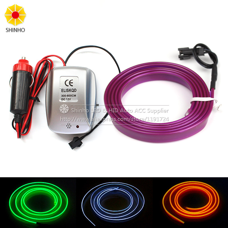 Car flexible neon light glow el 5M 1M 3M 10M Wire Tube 12V LED Tape Strip With Music Voice Sound controller Inverter image
