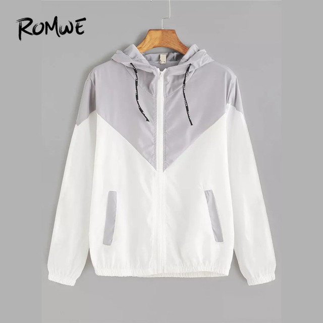 03fae369bf Romwe Sport Zipper Closure Drawstring Hat Colorblock Women Hooded Sports  Jacket Running Sportswear Jakcet Multicolor Optional
