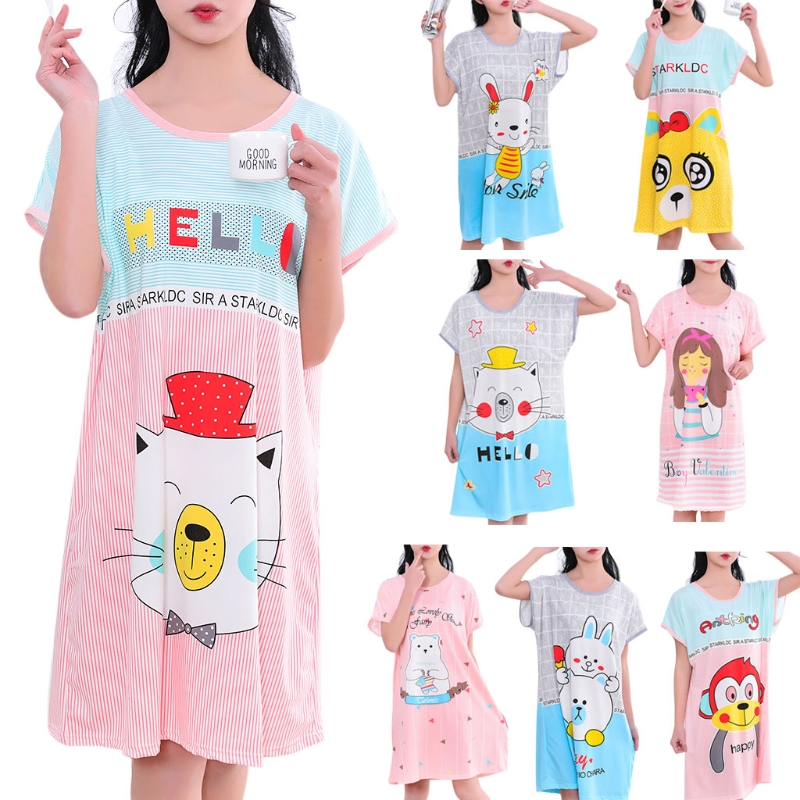 Women Summer Short Sleeve   Nightgowns   Cute Cartoon Printed   Sleepshirt   Plus Size