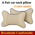 BreaDeep 2Pcs One Pair Car Seat Head Support Neck Rest Pillow Bone Shape Leather Travel Pillow