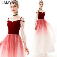 LAMYA Princess Velour Evening Dress For Women Long A Line Formal Dresses Tulle Sleeve Gradient Color Prom Gown Robe De Soiree