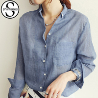 Camisas Femininas 2015 Summer Fashion White Linen Shirt Pockets Ladies Long Sleeve Blouses Blue Office Shirt