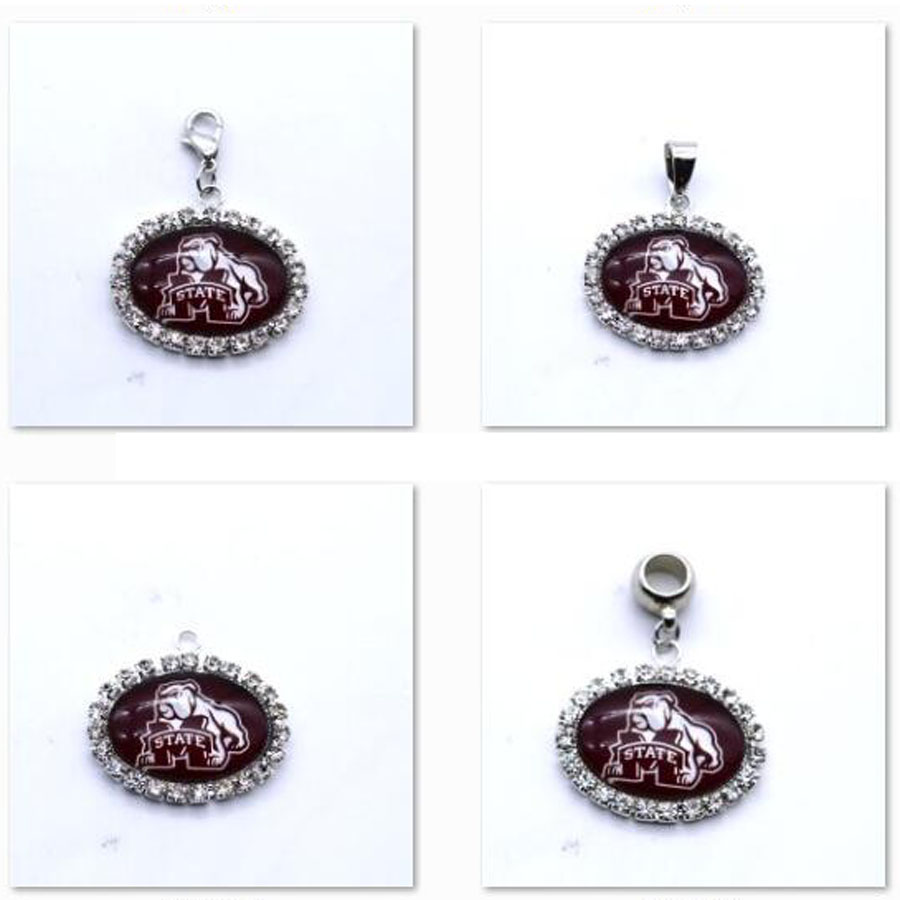Pendant Charms Rhinestone NCAA Mississippi State Bulldogs Charms for Bracelet Necklace for Women Men Football Fans Paty Fashion