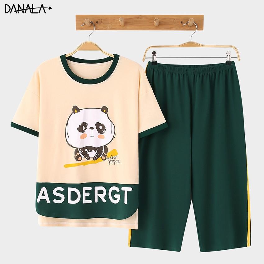 DANALA Cotton Casual Women Pajamas Sets Summer Solid Simple Vogue Short Sleeve Sleepwear Sets Women Home Suits Nightwear