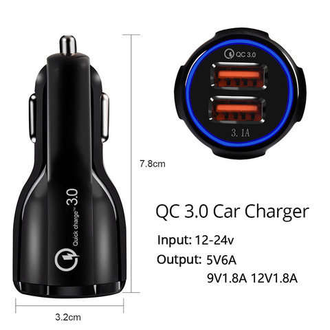 Seametal QC3.0 Car USB Charger Quick Charge Mobile Phone Charger 2 Port USB Fast Charger for iPhone Samsung Tablet Auto Charger Islamabad