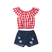 2019 Summer Toddler Baby Girls Clothing Casual Off Shoulder Red Plaids Tops+Denim Shorts Pants 2PCS Baby Girl Clothes Set new new free shipping girl lace white top red pants clothing set 2pcs set baby girl summer clothes baby girl clothing
