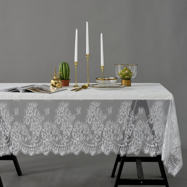 Us 5 17 53 Off Elegant Lace Table Cloth White Black Romantic Wedding Tablecloth Decor Cafe Table Decoration Cover S M L Xl In Tablecloths From Home