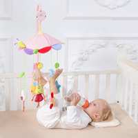 Baby Stroller Crib Hanging Rattles Plush Toys 360 Degree Rotate Musical Frog Bell Bed Holder Bracket Appease Soothing Wind Chime