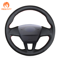 MEWANT Black Leather Car Steering Wheel Cover for Ford Focus 3 2015 2018 Fits Without Multi Function Button Steering Wheel