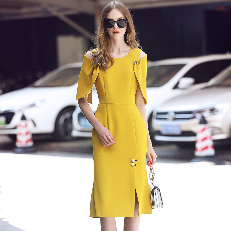 Ladies Women Dresses vintage Runway 2018 Diamonds Beading yellow dinner evening pleates Elegant slim fishtail dress High Quality