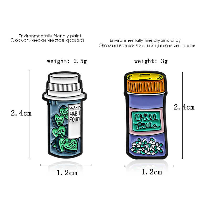 Botol Bros Kartun Botol Obat Pil Dingin Hati Ramuan Cinta Aku Jus Enamel Pin Kemeja Denim Lencana Teman hadiah