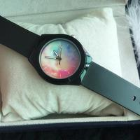 WAOUKS New rainbow graffiti, surface jelly, silicone bracelet, black and white double color/ simplicity / fashion / student tabl