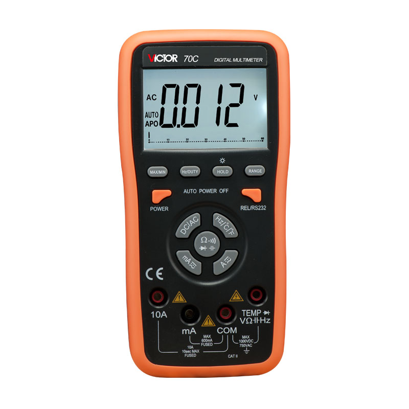 True RMS Ammeter Multitester VICTOR 70C 3 5/6Key Touch Digital Multimeter Resistance Capacitance Victor Multimeter victor digital multimeter vc9804a  3 4